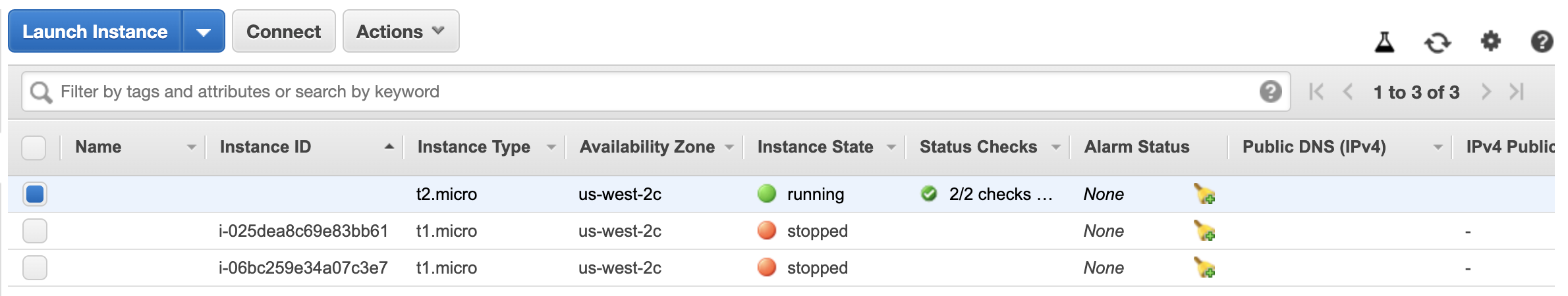 AWS EC2 instance running in console