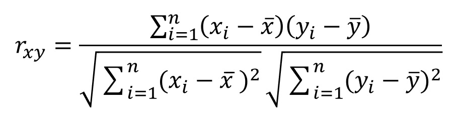 Formula to calculate Correlation