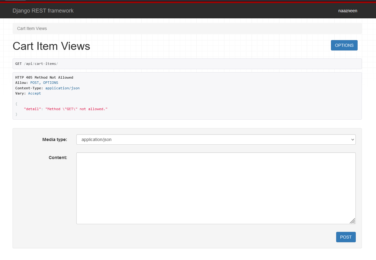 DRF Web browseable API after creating endpoint 'api/cart-items'