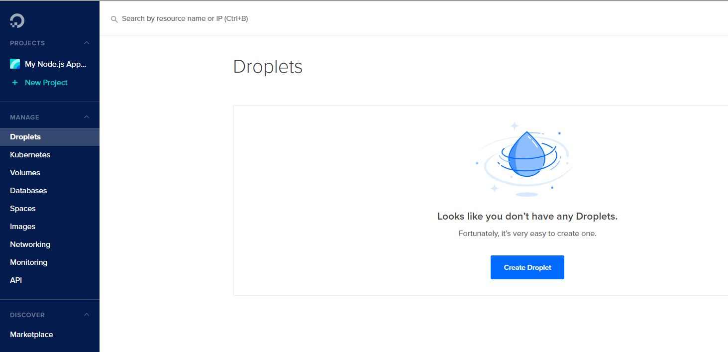 creating digital ocean droplet