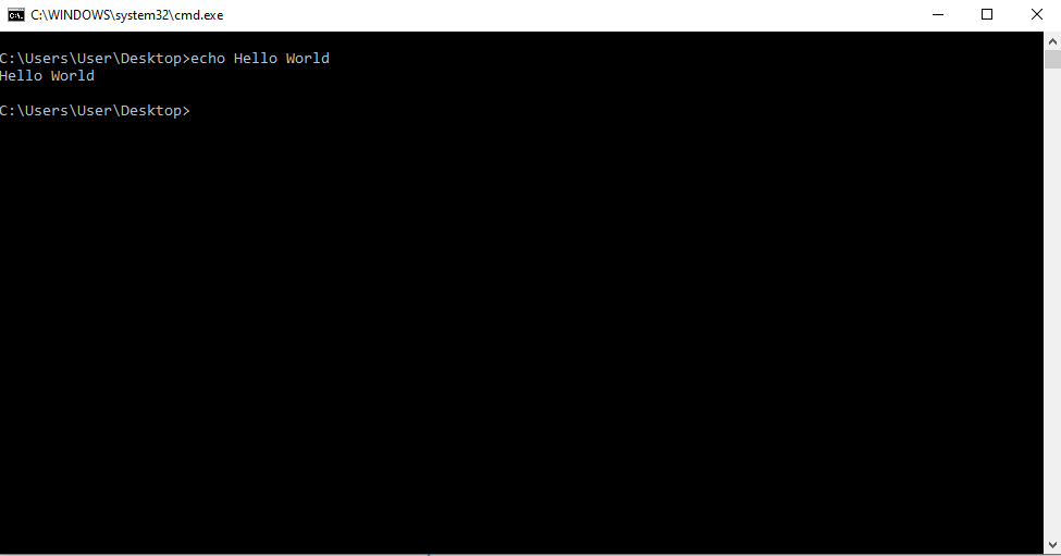 command prompt with hello world