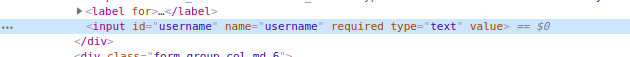 """Inspecting the HTML of the form to see the """"required"""" attribute of the input field"""