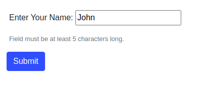 Form rendering errors for a short username