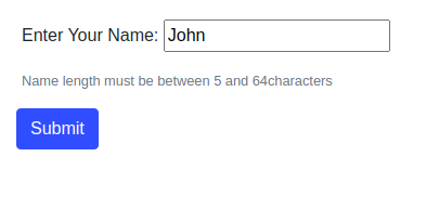 Form rendering errors for a short username with a custom message