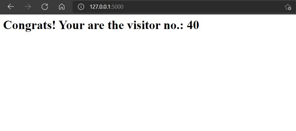 Screenshot of website displaying the visitor count