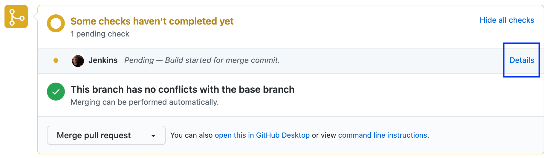 github pull request jenkins
