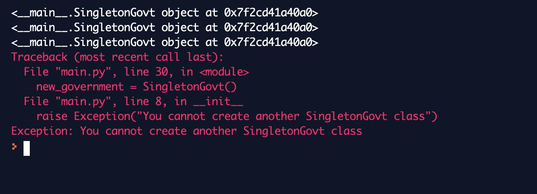 singleton design pattern in python results