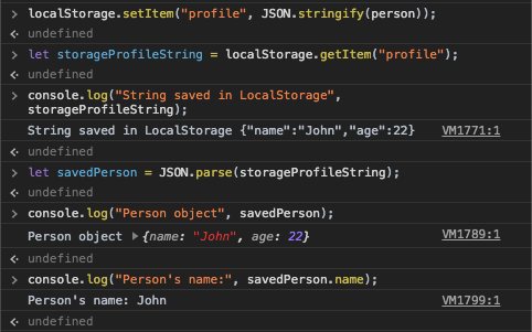 Correctly store an object in LocalStorage