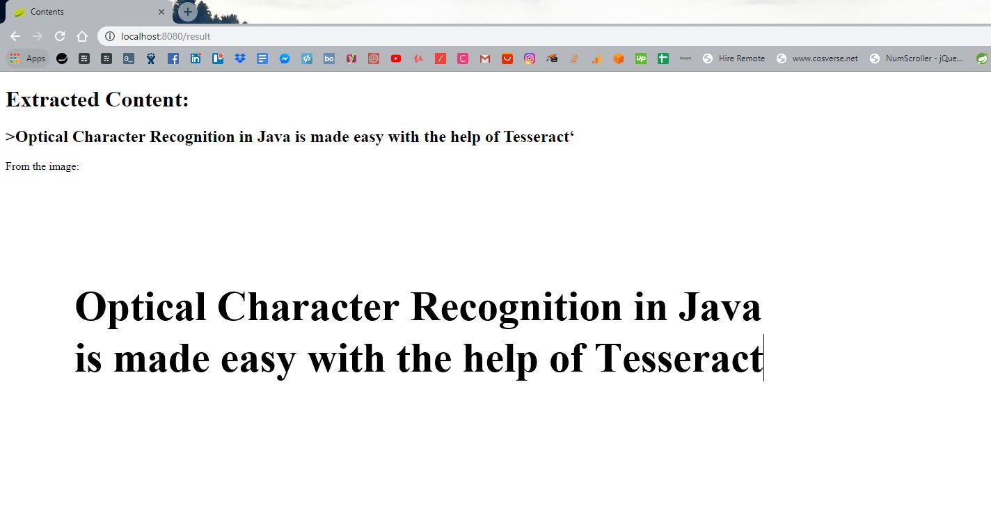 Tesseract: Simple Java Optical Character Recognition